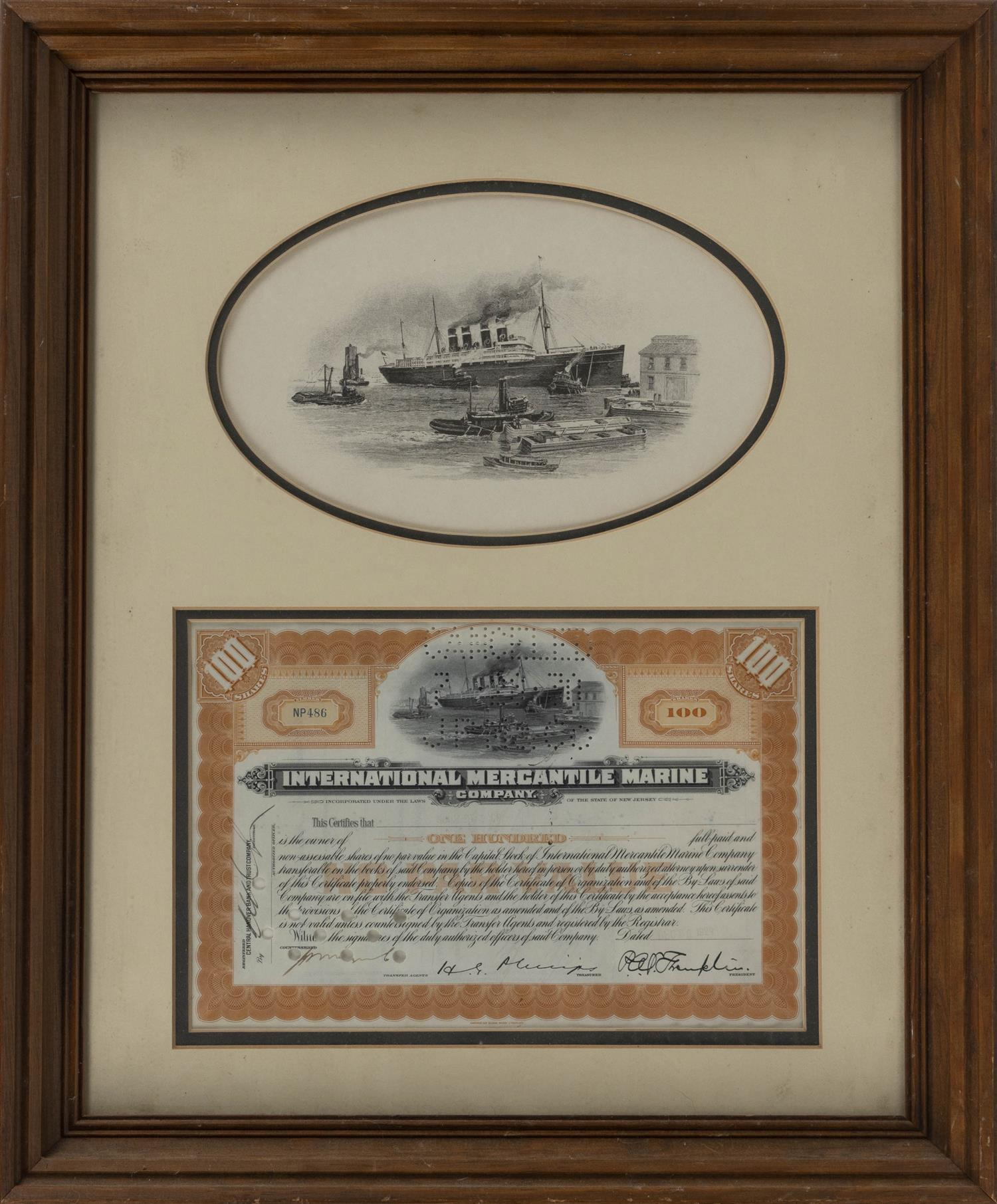 INTERNATIONAL MERCANTILE MARINE COMPANY STOCK CERTIFICATE Undated and cancelled certificate framed below an oval depiction of a stea...