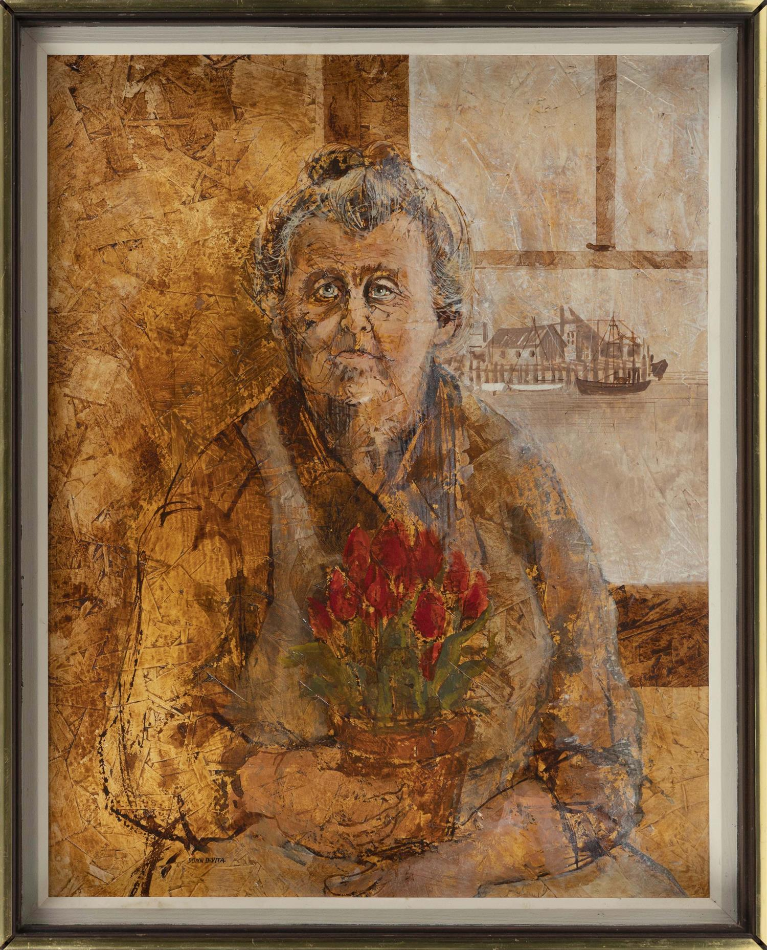 "DONN DEVITA, Dennis, Massachusetts, 1932-2010, Fisherman's wife seated by a window,, Oil on masonite, 20"" x 16"". Framed 21"" x 17""."