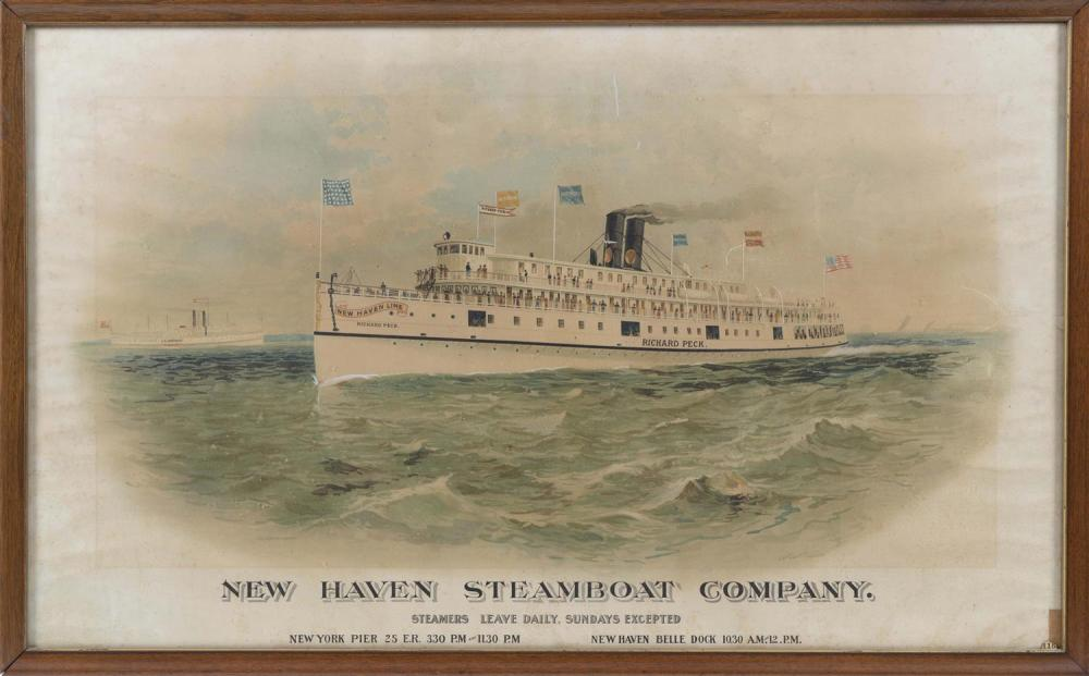 """COLORED PRINT """"NEW HAVEN STEAMBOAT COMPANY"""" Depicts the steamship Richard Peck. Framed 24.75"""" x 40.25""""."""