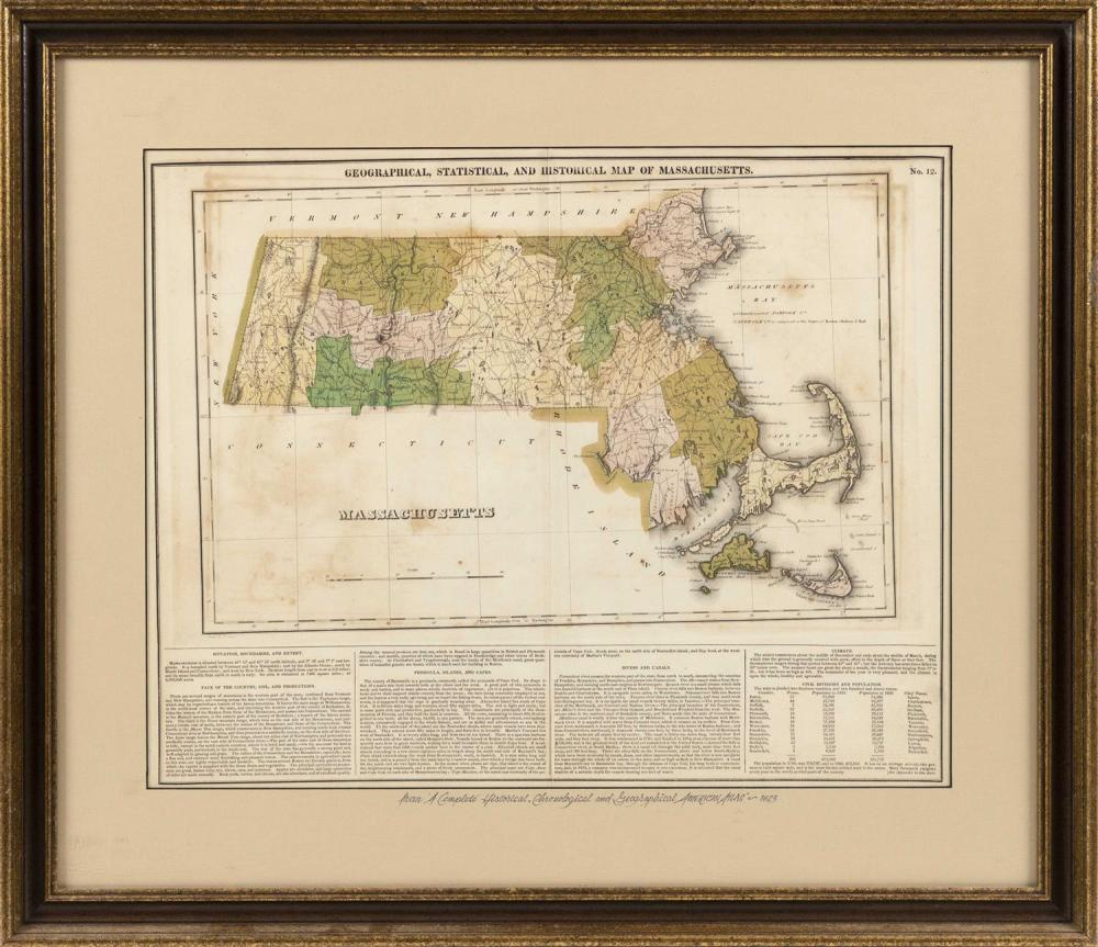 """MAP OF MASSACHUSETTS Titled upper right margin """"Geographical, Statistical, and Historical Map of Massachusetts"""". Framed 25.25"""" x 29...."""