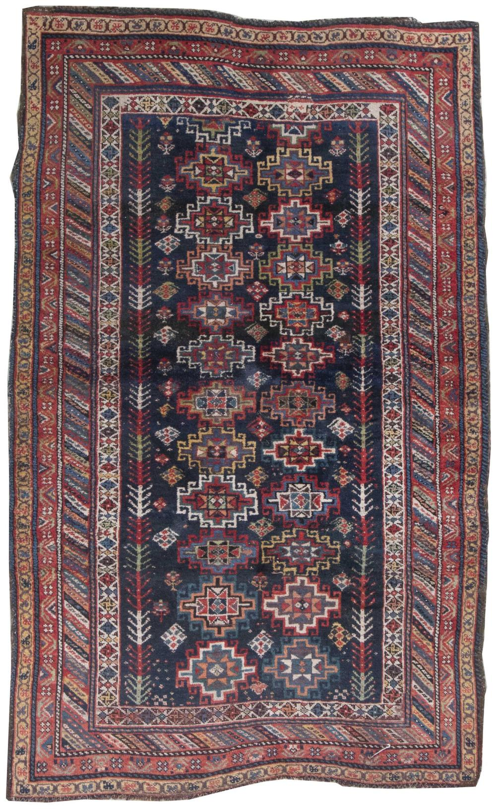 """ORIENTAL RUG: KURD 4'8"""" x 7'5"""" Two rows of colorful geometric medallions flanked by numerous colorful boteh and blossoms on a navy b."""