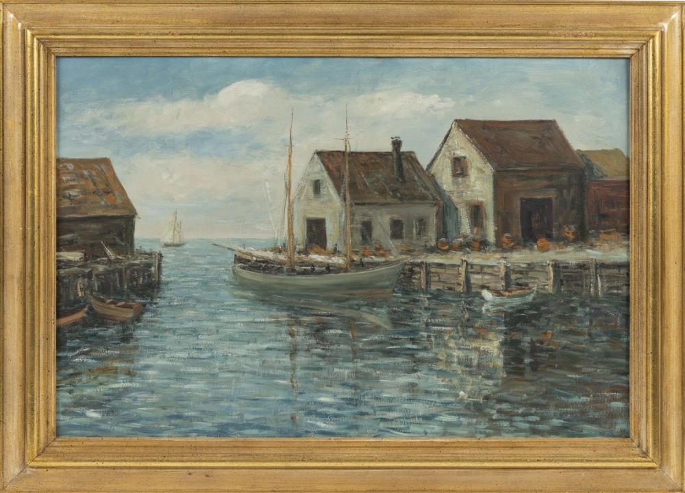 """CHARLES E. DUNCAN RODICK, Massachusetts/Maine/Nova Scotia, 1874-c.1940, Dock scene., Oil on artist board, 20"""" x 30"""". Framed 25.5"""" x..."""