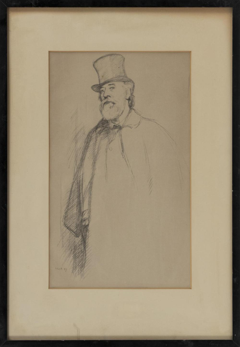 "SIR WILLIAM ROTHENSTEIN, England, 1872-1945, ""Professor Alphonese Legros"", 1897., Lithograph on laid paper, 13.25"" x 8"". Framed 19.7..."