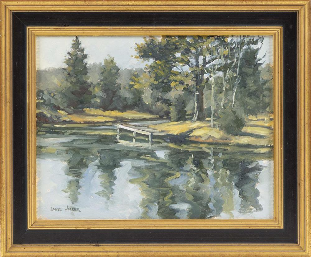 """LANCE WALKER, Cape Cod, Massachusetts, Contemporary, """"Swan River from Rt. 28""""., Oil on canvas, 11"""" x 14"""". Framed 15"""" x 17.75""""."""