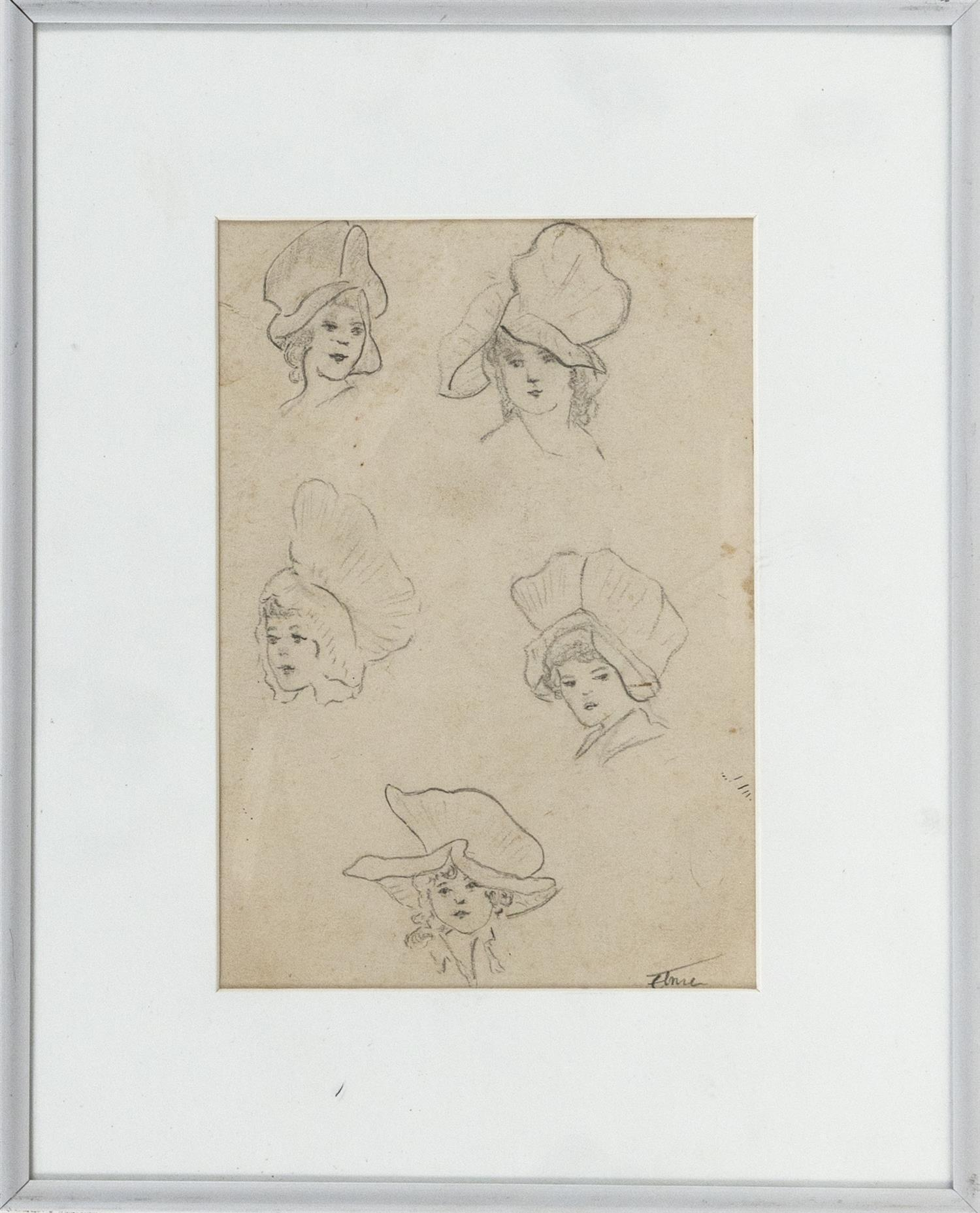 """STEPHEN MORGAN ETNIER, Maine/California, 1903-1984, Sketch of a woman in five different poses., Pencil on paper, 6.5"""" x 4.5"""" sight...."""