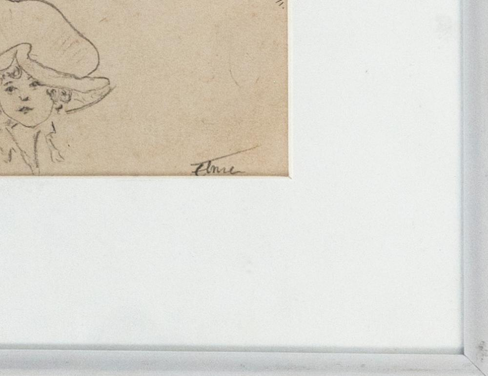 STEPHEN MORGAN ETNIER, Maine/California, 1903-1984, Sketch of a woman in five different poses., Pencil on paper, 6.5