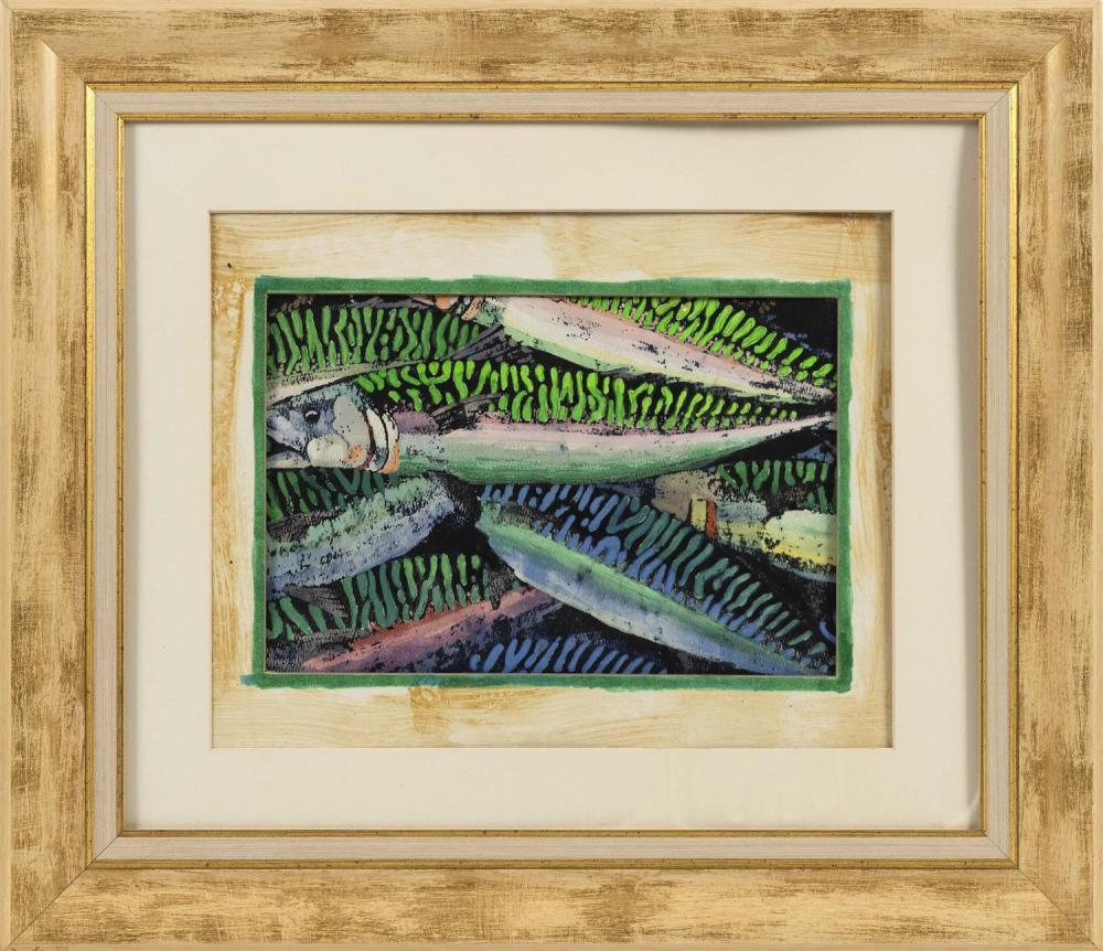 "PAINTING OF A MACKEREL Unsigned. Mixed media on paper, 7.5"" x 11.5"" sight. Framed 19.5"" x 22.5""."