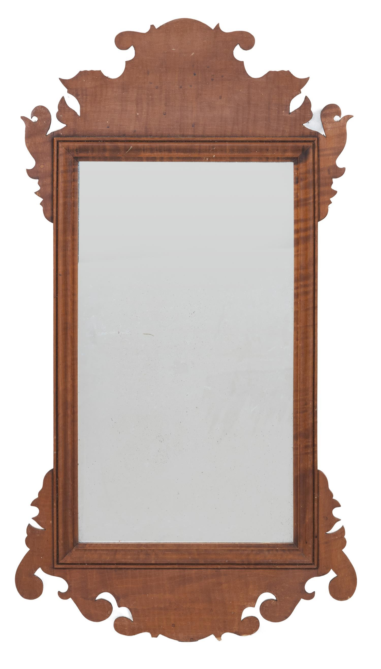 """ELDRED WHEELER CHIPPENDALE-STYLE MIRROR In tiger maple. Original label on back. Height 37.5"""". Width 20""""."""