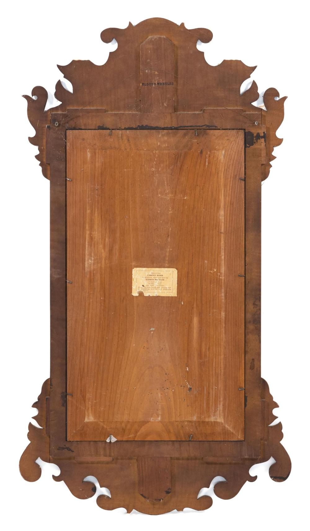 ELDRED WHEELER CHIPPENDALE-STYLE MIRROR In tiger maple. Original label on back. Height 37.5