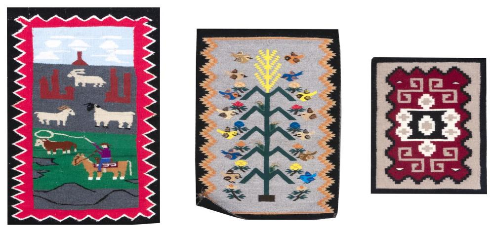 """THREE SMALL NAVAJO WOVEN MATS From 1'5"""" x 1'8"""" to 1'11"""" x 2'8"""" All with original tags with information pertaining to their origins."""
