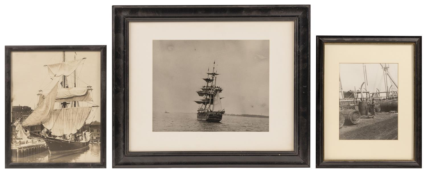 THREE BLACK AND WHITE PHOTOGRAPHS OF WHALESHIPS 1) The Morning Star at dock, with men and barrels in the foreground. Ship identified...