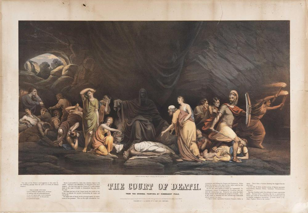 "AFTER REMBRANDT PEALE, Pennsylvania, 1778-1860, ""The Court of Death""., Lithograph on paper, 22"" x 30"". Unframed."