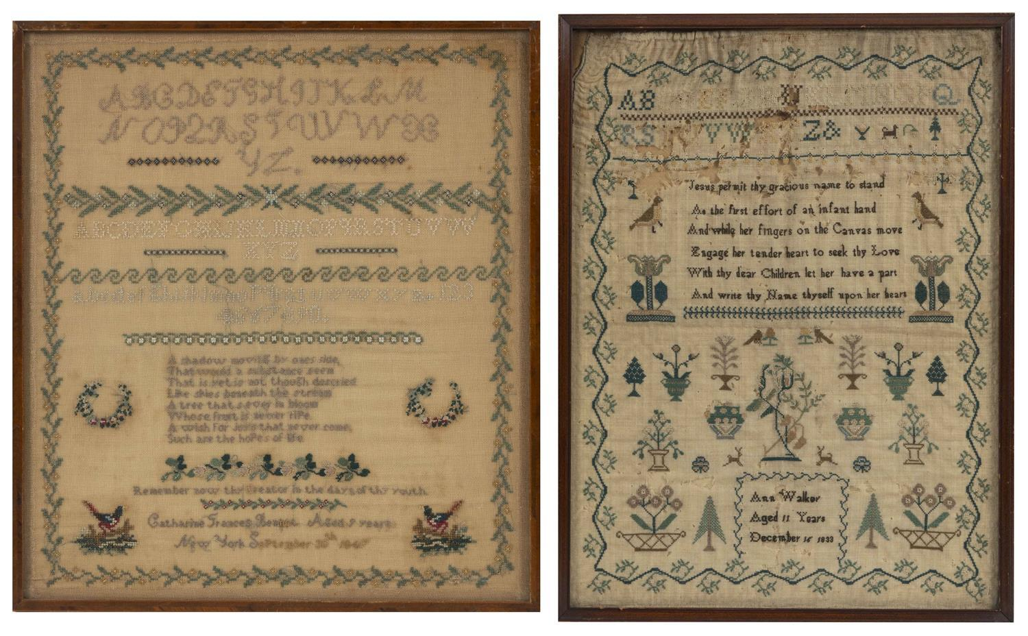 """TWO ENGLISH NEEDLEWORK SAMPLERS Dated 1833 and 1847. Framed 17.5"""" x 15.75"""" and 18"""" x 13.5""""."""