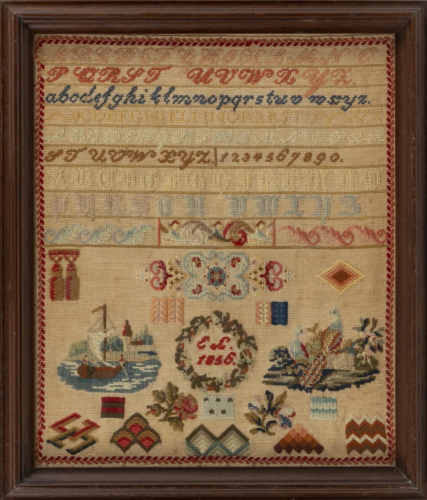 "ENGLISH NEEDLEWORK SAMPLER Dated 1856. Sailboat and peafowl design. Framed 19.5"" x 17""."