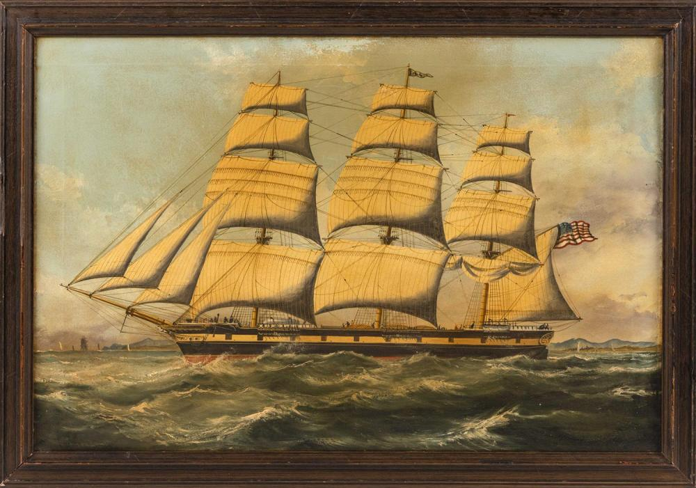 """AMERICAN SCHOOL, Early 20th Century, Three-masted ship off the coast., Oil on canvas, 20"""" x 30"""". Framed 24"""" x 34""""."""