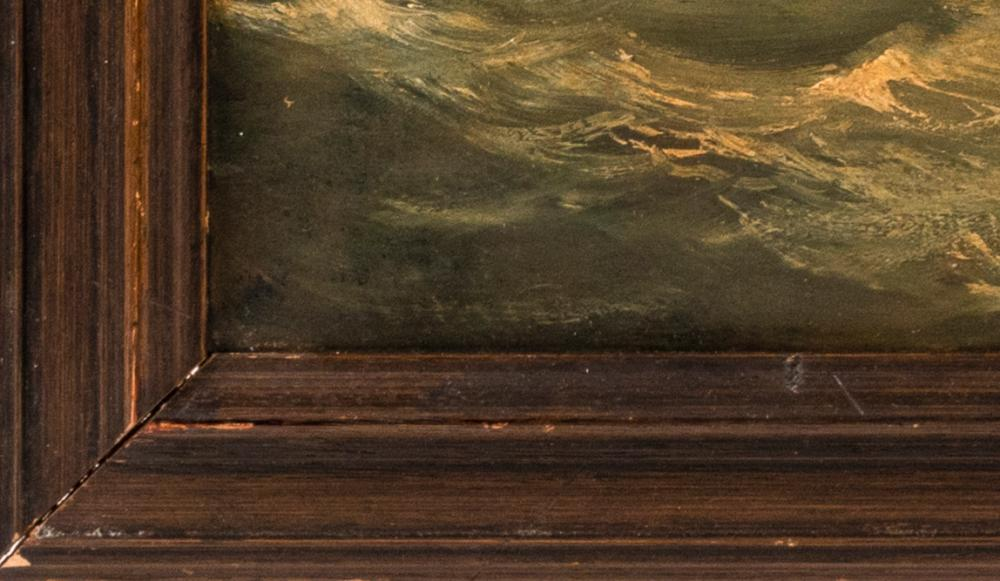 AMERICAN SCHOOL, Early 20th Century, Three-masted ship off the coast., Oil on canvas, 20