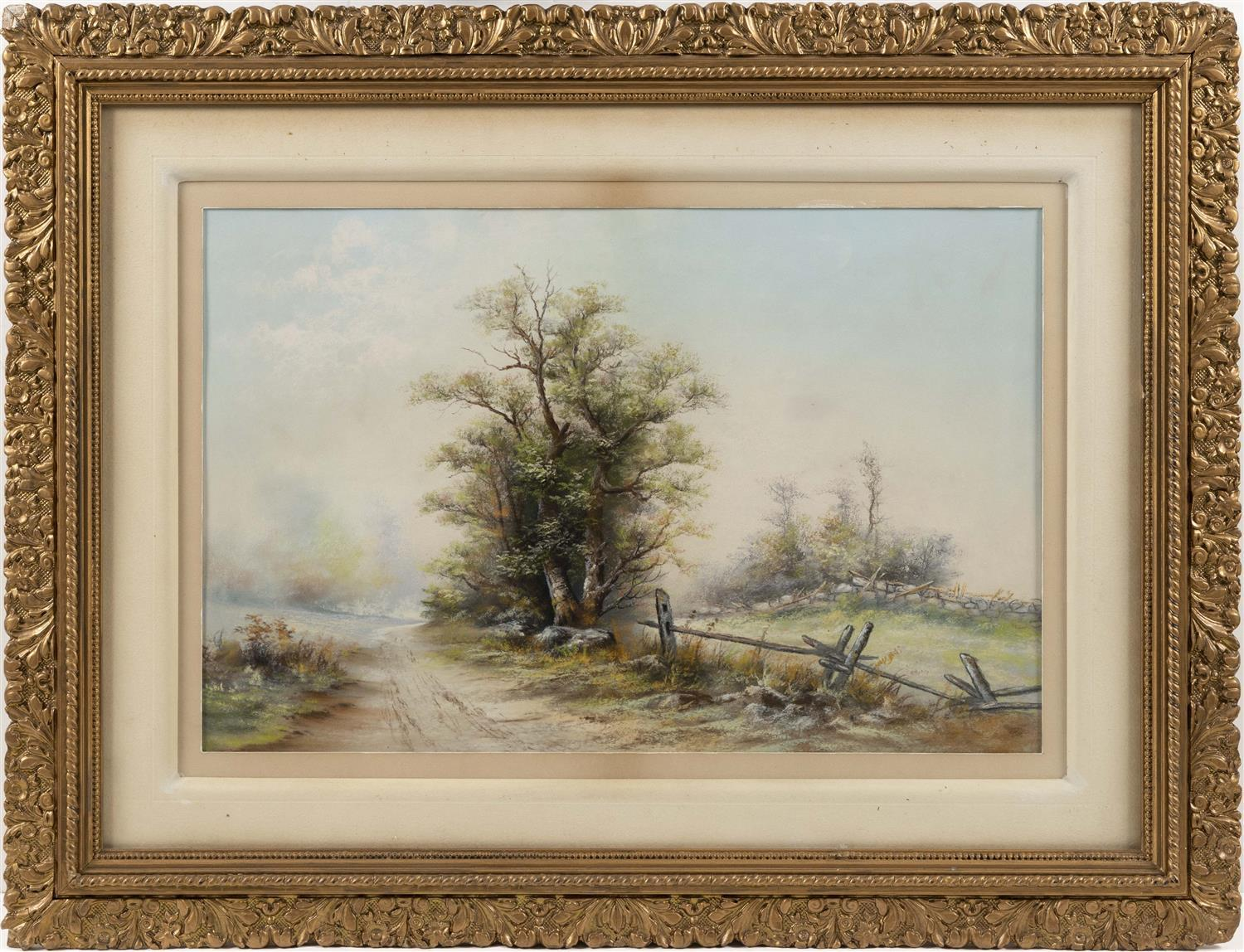 "AMERICAN SCHOOL, Early 20th Century, Winter pastoral landscape., Pastel on paper, 21"" x 30"". Framed 27"" x 35""."