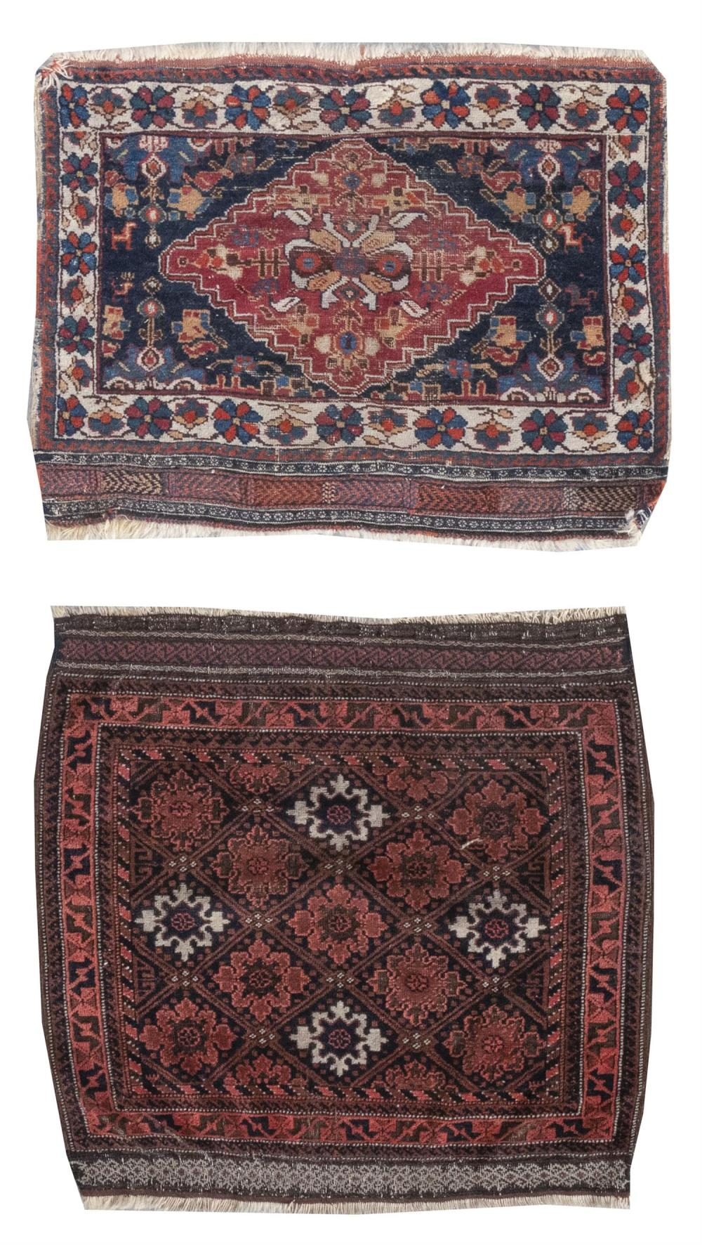 """TWO ORIENTAL MATS: SOUTH PERSIAN STORAGE BAGFACE AND A BELOUCH 2'1"""" x 2'7"""" and 2'7"""" x 2'9"""" South Persian with red central medallion"""