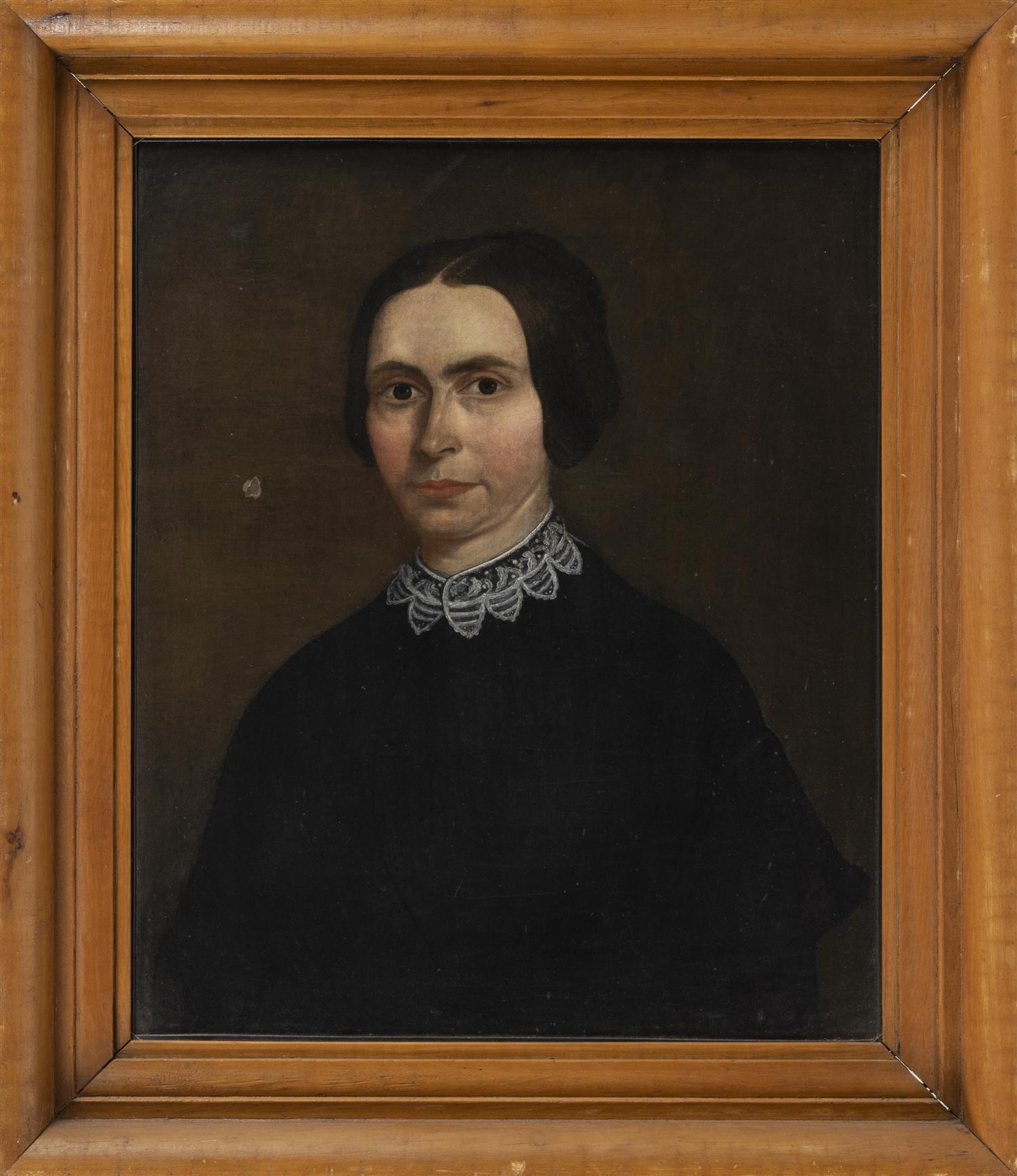 "AMERICAN SCHOOL, 19th Century, Portrait of a woman., Oil on canvas, 24"" x 20"". Framed 30.5"" x 26""."