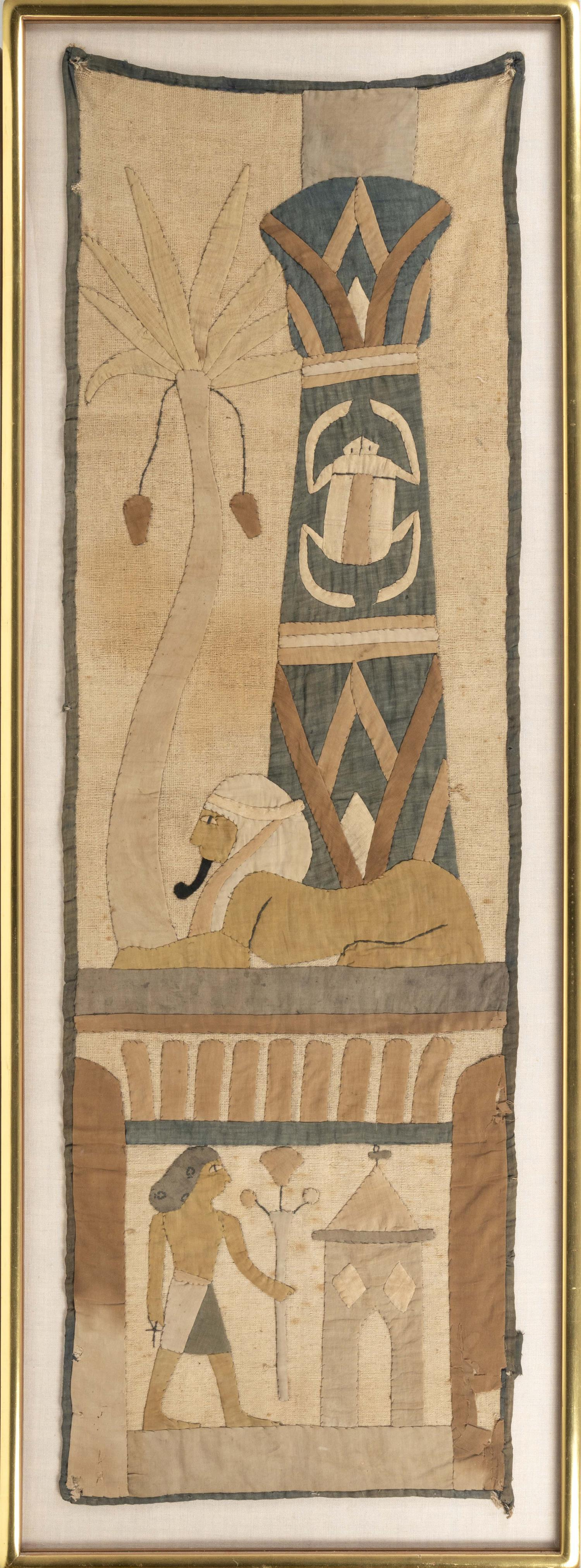 """WALL HANGING WITH EGYPTIAN MOTIF Framed 60"""" x 22""""."""