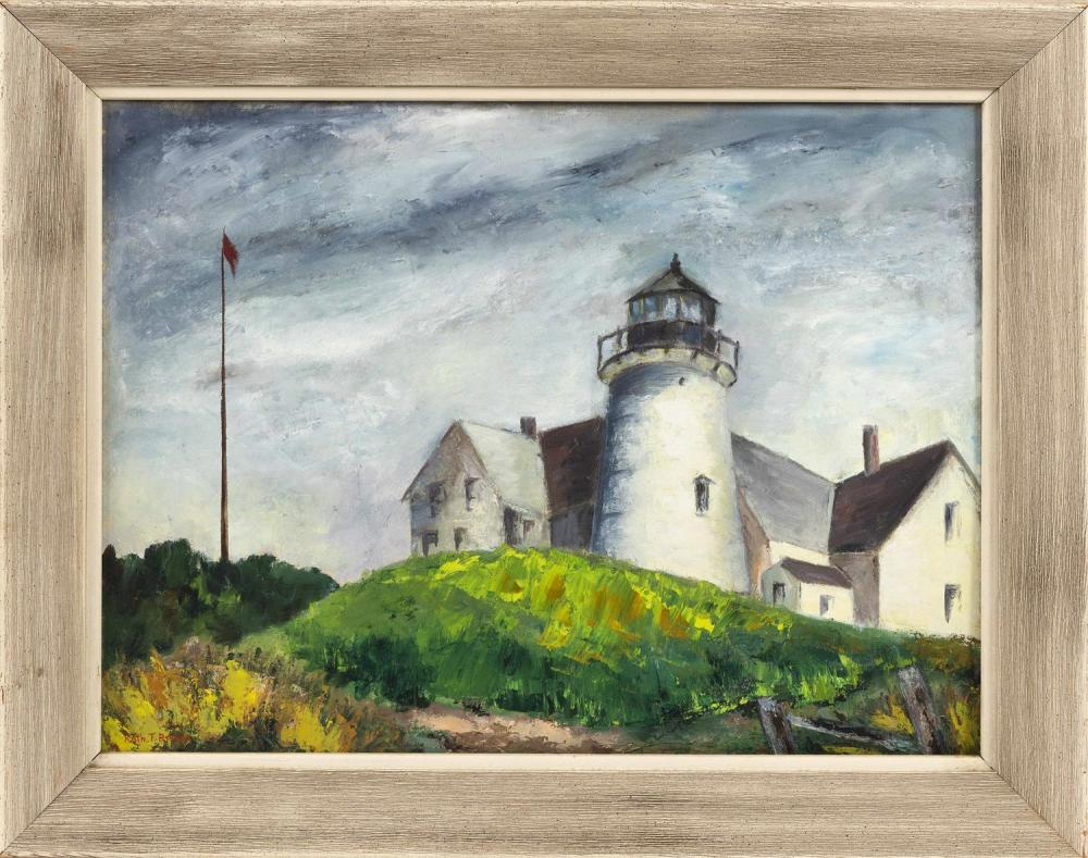 "PAINTING OF A LIGHTHOUSE Believed to be Nobska Light, Woods Hole, Massachusetts. Signed lower left ""Ruth T. Brown"". Oil on artist pa..."