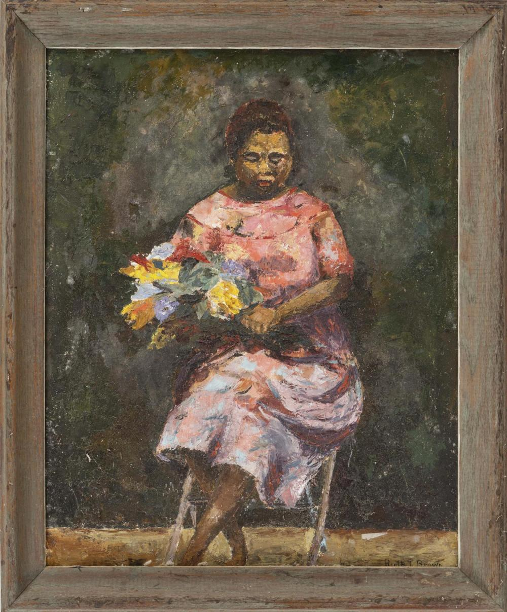 """PAINTING OF A WOMAN Seated in a chair and holding a bunch of flowers. Signed lower right """"Ruth T. Brown"""". Oil on artist panel, 16"""" x..."""