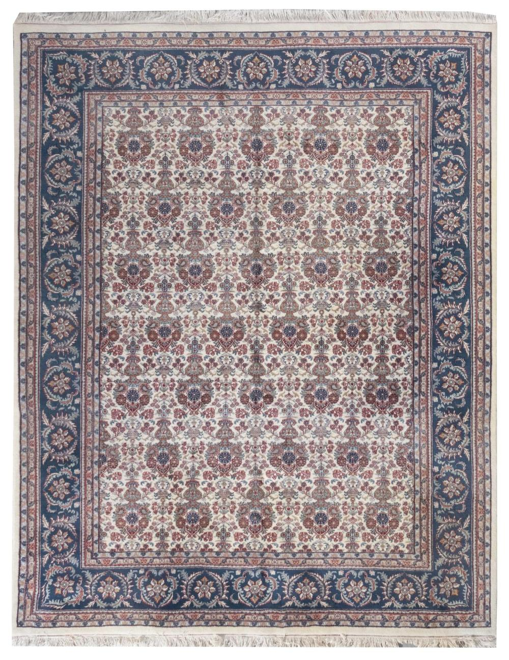 """ORIENTAL RUG: PERSIAN DESIGN 8'2"""" x 10'0"""" Ivory field with staggered rows of traditional flower vases rendered in shades of verdigris"""