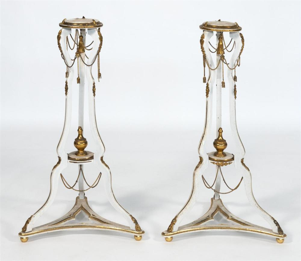 "PAIR OF HERBERT SENN ORMOLU-MOUNTED PLANT STANDS With articulated chains and tassels. Heights 35""."