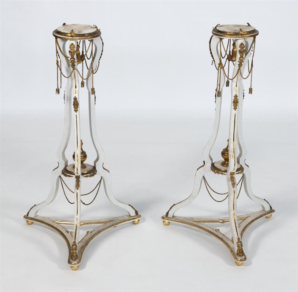 PAIR OF HERBERT SENN ORMOLU-MOUNTED PLANT STANDS With articulated chains and tassels. Heights 35