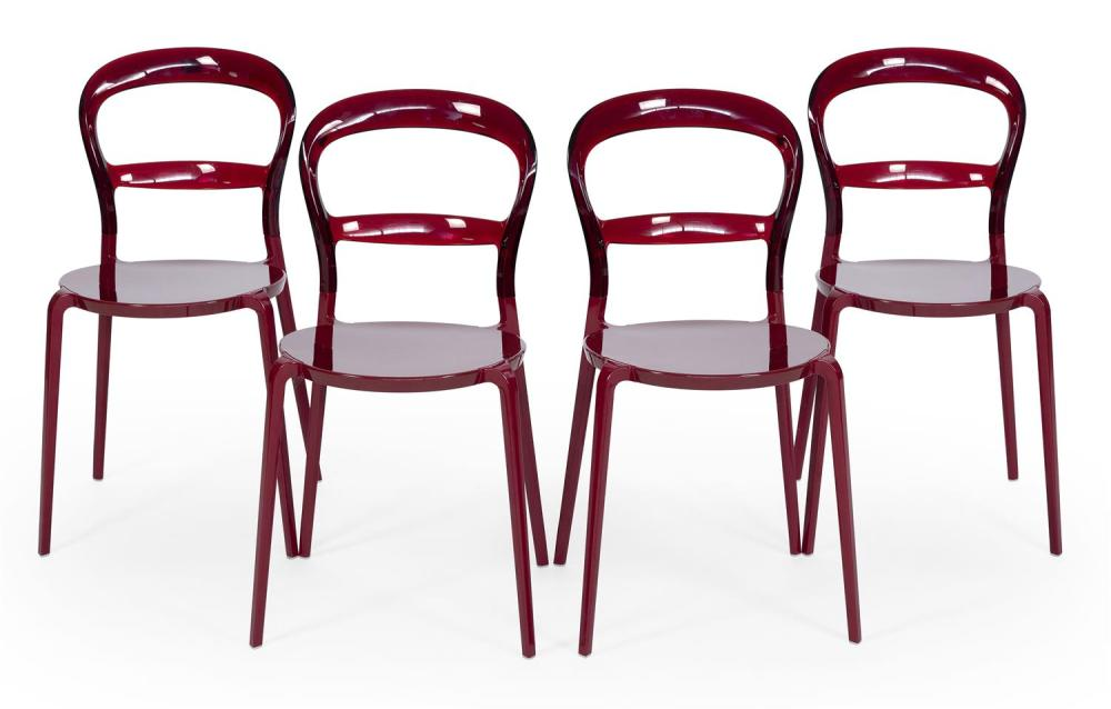 """FOUR CALLIGARIS """"WEIN"""" SIDE CHAIRS Cranberry-colored lucite. Factory marks. Back heights 31.5"""". Seat heights 18""""."""
