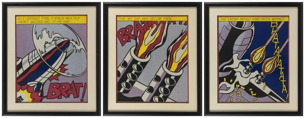 "AFTER ROY LICHTENSTEIN, New York, 1923-1997, Triptych ""As I Opened Fire""., Lithographs on paper, sheets 25"" x 20.5"". Framed 32"" x 27..."