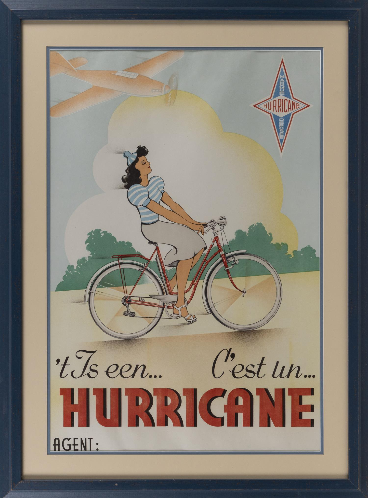 """VINTAGE """"HURRICANE"""" BICYCLE ADVERTISEMENT Depicts a woman riding a bicycle, with an airplane overhead. 31.5"""" x 21"""". Framed 39"""" x 30""""."""