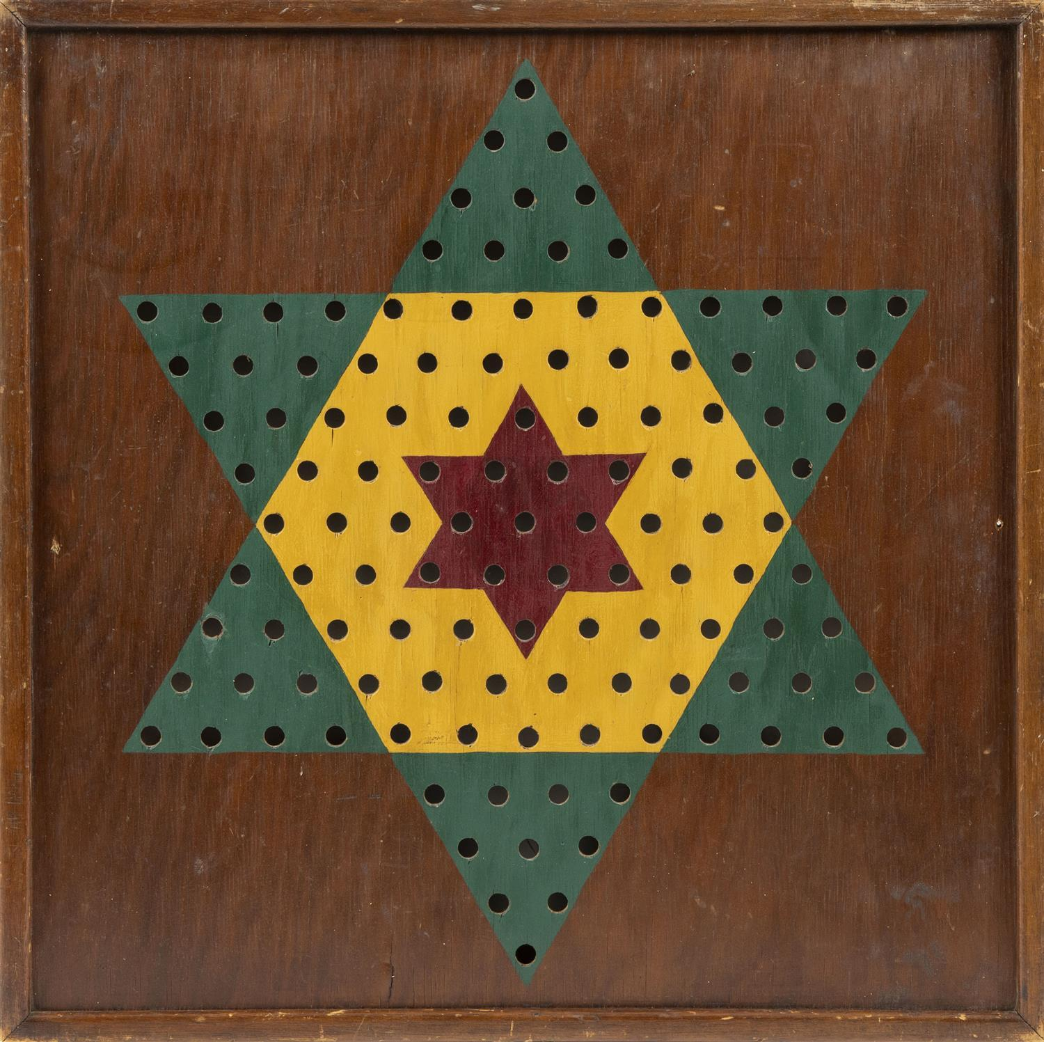 """CHINESE CHECKERS GAME BOARD Pierced playing positions. 25"""" x 25""""."""