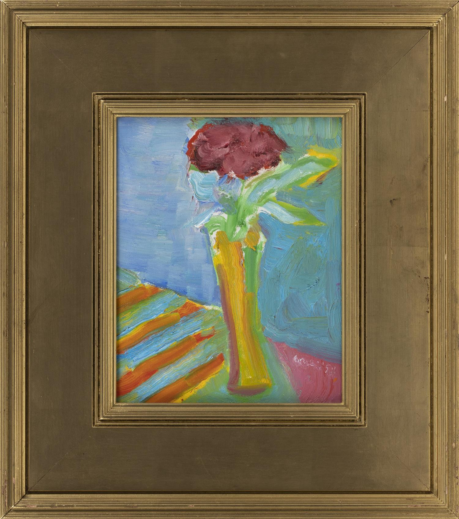"JOHN GRILLO, Massachusetts, 1917-2014, Floral still life., Oil on canvas, 10"" x 8"". Framed 17"" x 15""."