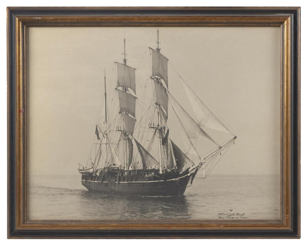 "ALBERT COOK CHURCH, Massachusetts, 1880-1965, A whaleship at sea., Black and white photograph, 15.25"" x 19"" sight. Framed 18.25"" x 2..."
