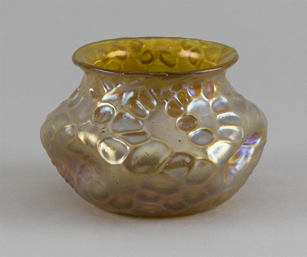 FAVRILE-STYLE ART GLASS BOWL In dimpled ovoid form. Mottled finish. Signed