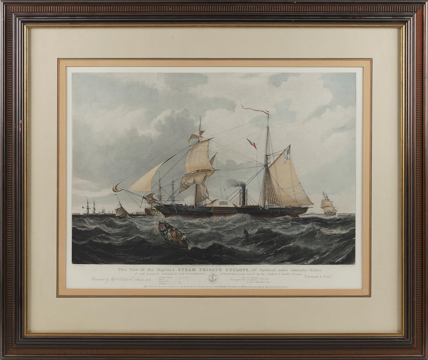 """""""THIS VIEW OF HER MAJESTY'S STEAM FIGATE CYCLOPS"""" AFTER KNELL Hand-colored etching and aquatint by H. Papprill. 18"""" x 25"""" sight. Fra.."""