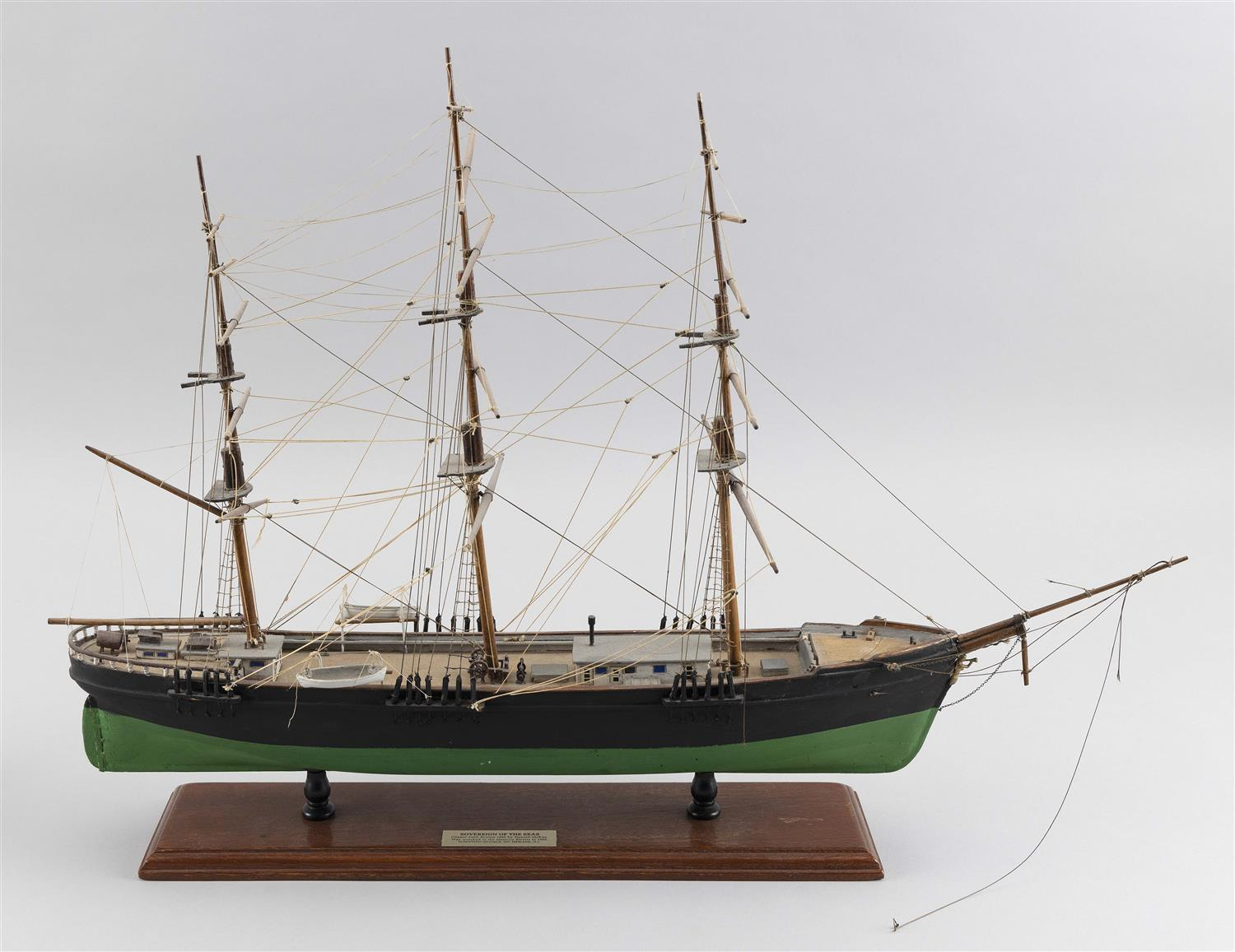 """MODEL OF THE SOVEREIGN OF THE SEAS Black and green hull. Height 16"""". Length 23""""."""