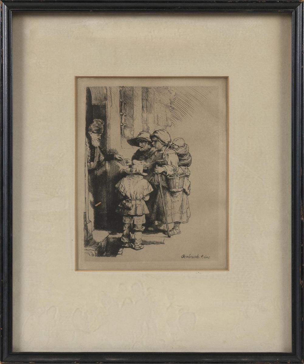 "AFTER REMBRANDT VAN RIJN, Netherlands/Holland, 1606-1669, ""Beggars Receiving Alms at the Door of a House""., Etching and dry point, m..."