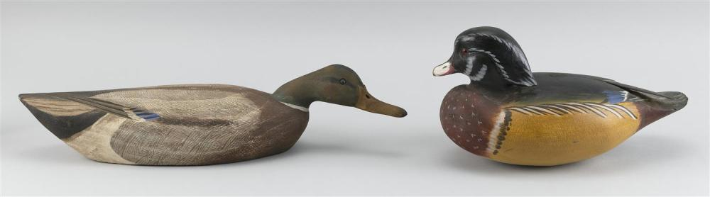 "TWO MASSACHUSETTS DECOYS A Roger Mitchell wood duck drake, length 12"", and a William Kilpatrick mallard drake, length 18""."