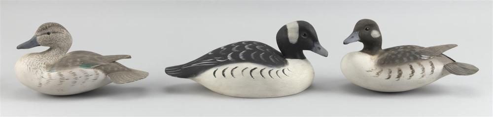 """THREE BRIAN MITCHELL DUCK CARVINGS Two buffleheads and a blue-winged teal. Lengths from 9"""" to 12""""."""