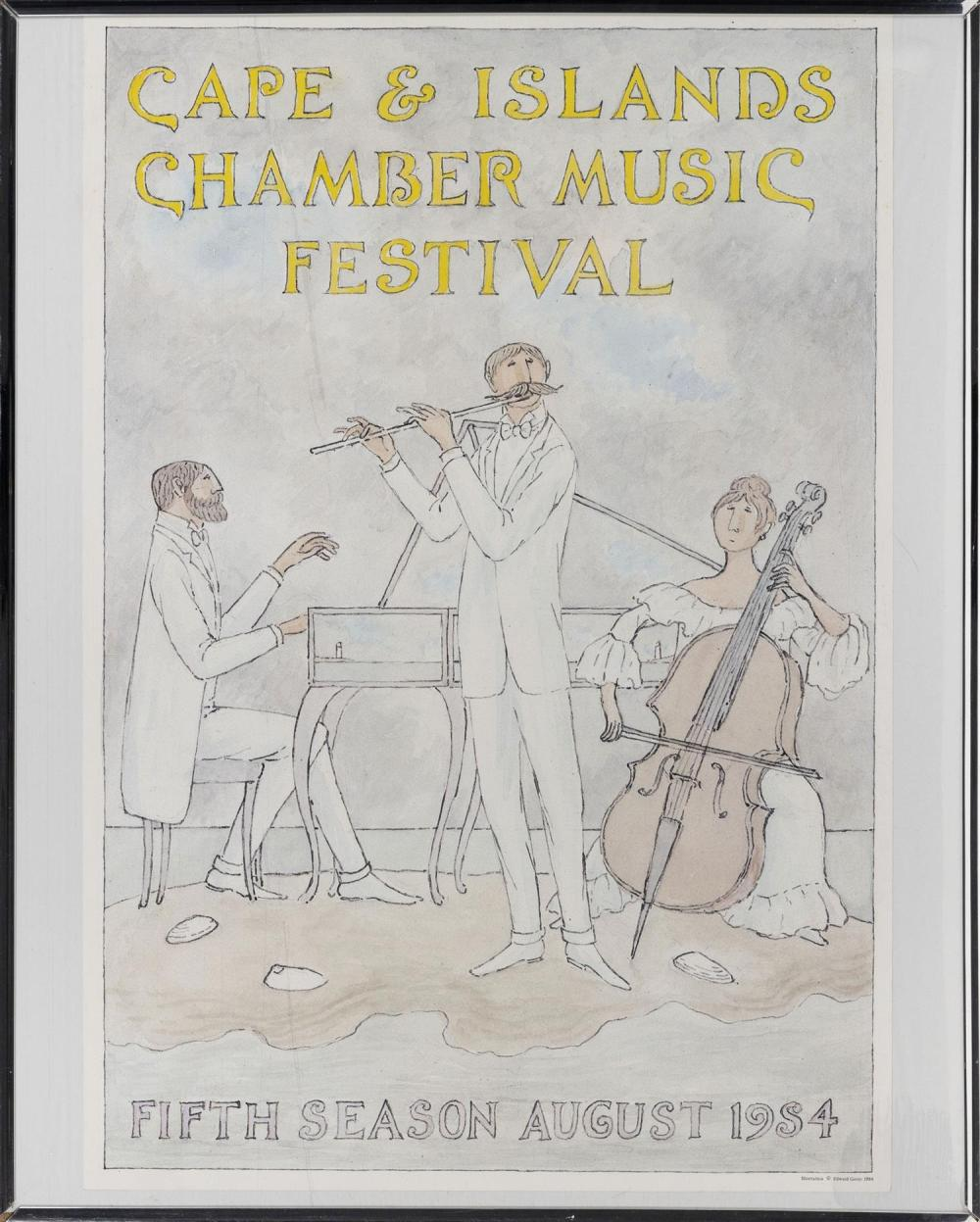 EDWARD GOREY MEMORABILIA Includes a Cape & Islands Chamber Music Festival poster, a boxed
