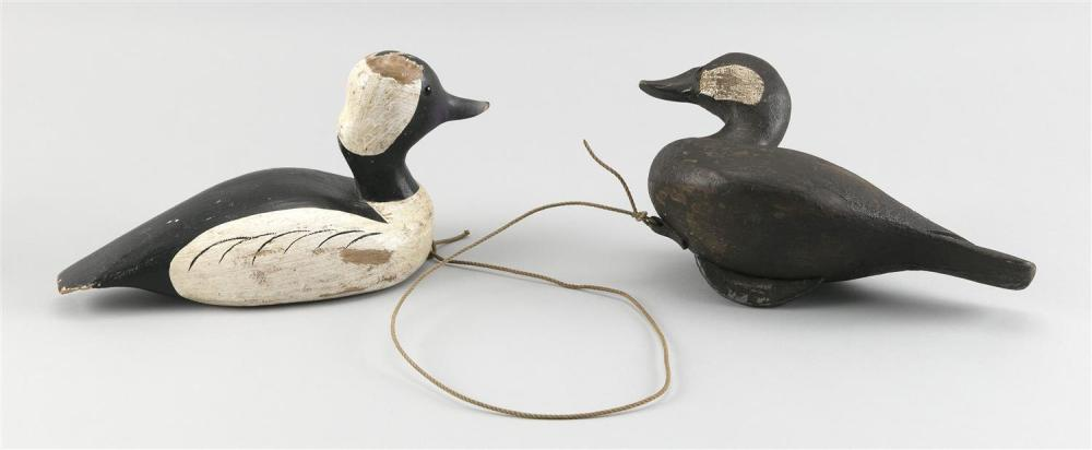 """TWO DECOYS A ruddy duck drake and a bufflehead drake. Both stamped """"CWW"""". Lengths 10"""" and 11""""."""