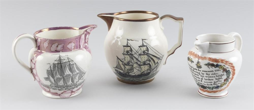 """THREE SUNDERLAND PITCHERS 1) Pink lustre with portrait of a three-masted ship at sea on one side and a verse """"The sailor tost in sto..."""