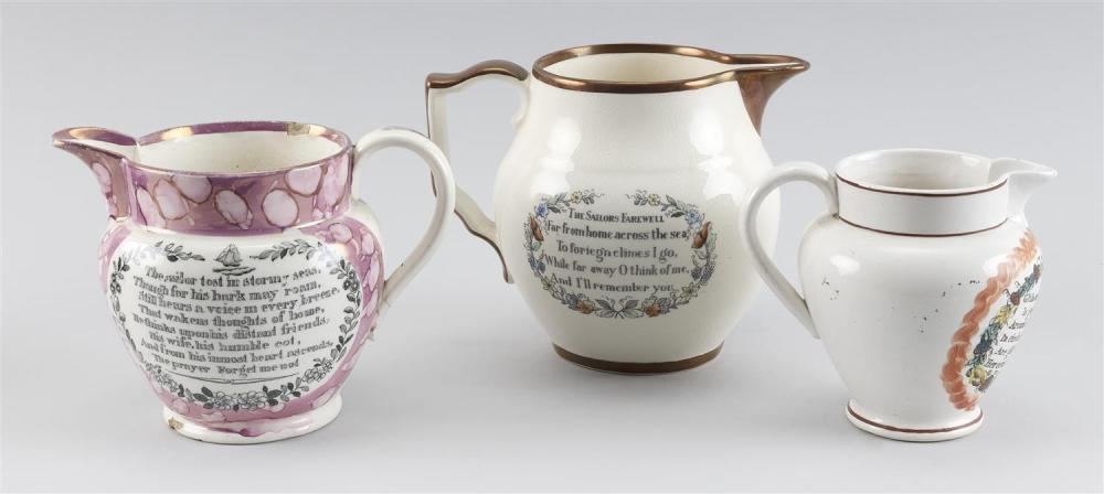 THREE SUNDERLAND PITCHERS 1) Pink lustre with portrait of a three-masted ship at sea on one side and a verse