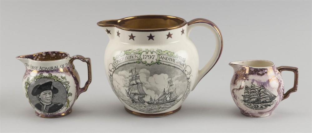 """THREE LUSTREWARE PITCHERS 1) Pink lustre with portraits of the ship """"Three Brothers"""" on both sides. Height 3"""". 2) Pink lustre with b..."""