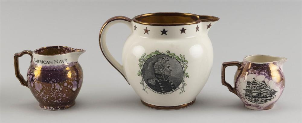 THREE LUSTREWARE PITCHERS 1) Pink lustre with portraits of the ship