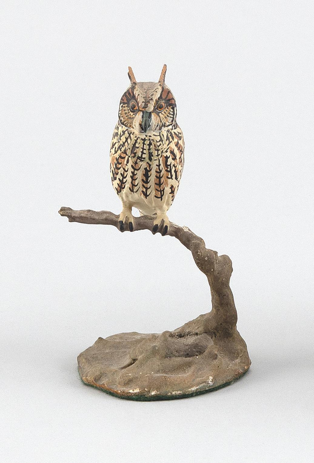 "MINIATURE COMPOSITE SCULPTURE OF A LONG-EARED OWL Height 4.5""."