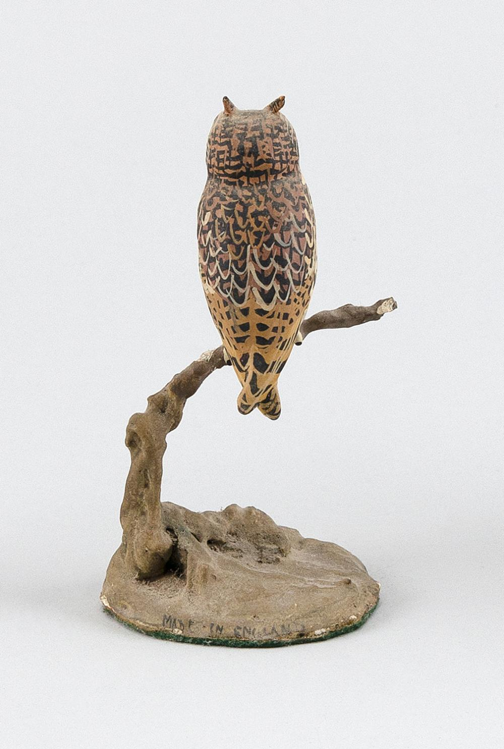 MINIATURE COMPOSITE SCULPTURE OF A LONG-EARED OWL Height 4.5