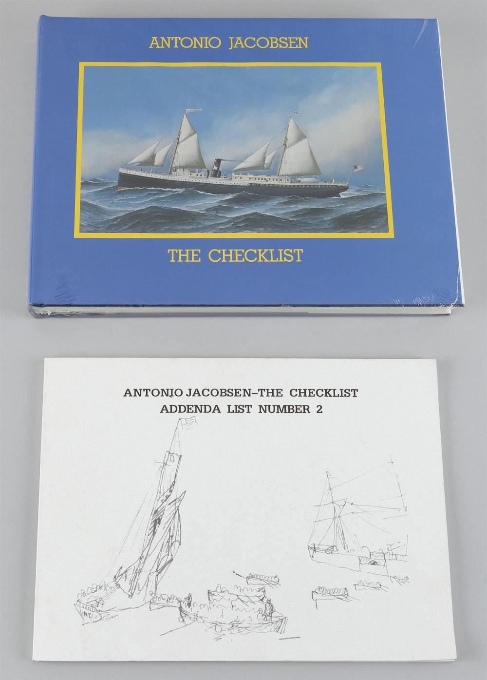MARINE ART BOOK ANTONIO JACOBSEN, THE CHECKLIST By Harold S. Sniffen (Newport News, Va., 1984). Oblong Q. Cloth. DJ. With supplement.